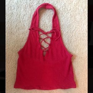 Urban Outfitters red halter crop top